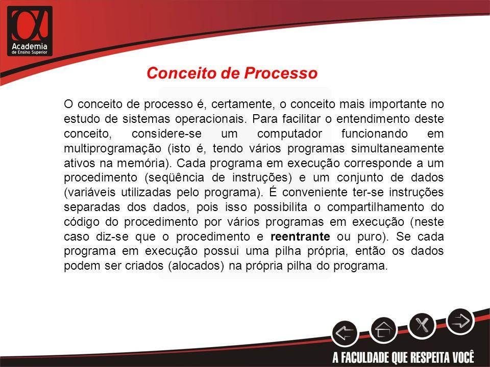 Conceito de Processo O conceito de processo é, certamente, o conceito mais importante no estudo de sistemas operacionais. Para facilitar o entendiment