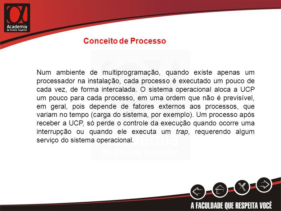 Conceito de Processo Num ambiente de multiprogramação, quando existe apenas um processador na instalação, cada processo é executado um pouco de cada v