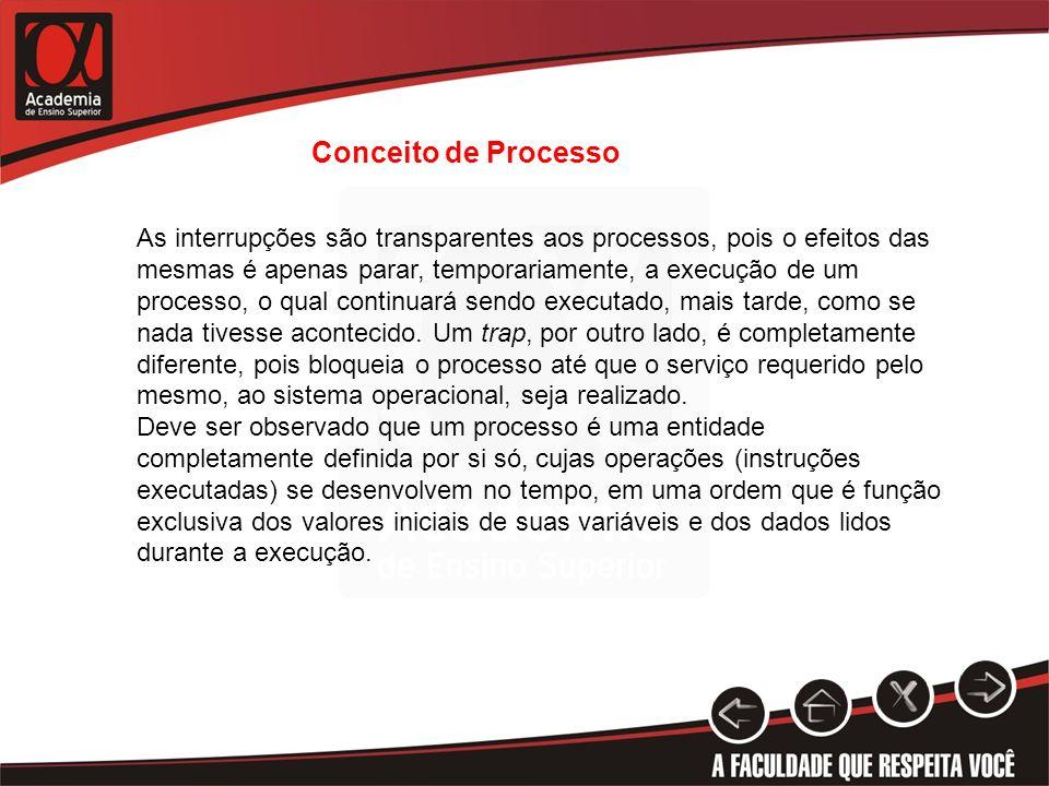 Conceito de Processo As interrupções são transparentes aos processos, pois o efeitos das mesmas é apenas parar, temporariamente, a execução de um proc