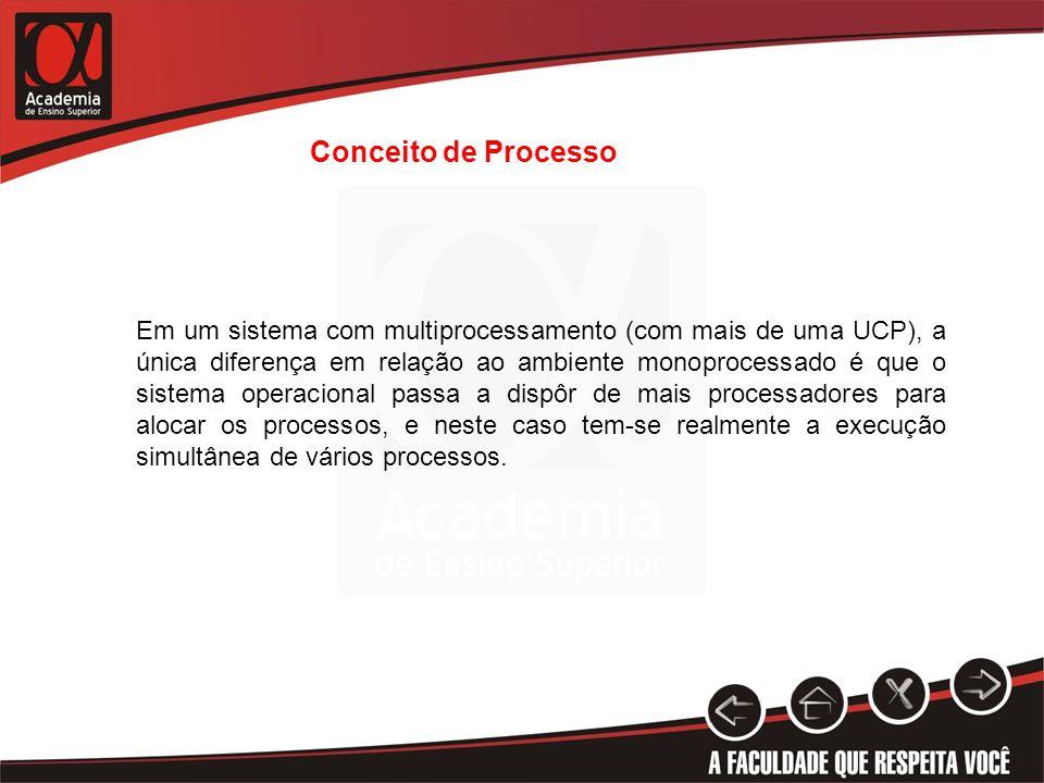 Conceito de Processo Em um sistema com multiprocessamento (com mais de uma UCP), a única diferença em relação ao ambiente monoprocessado é que o siste
