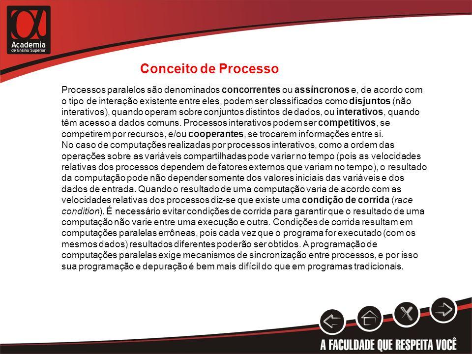 Conceito de Processo Processos paralelos são denominados concorrentes ou assíncronos e, de acordo com o tipo de interação existente entre eles, podem
