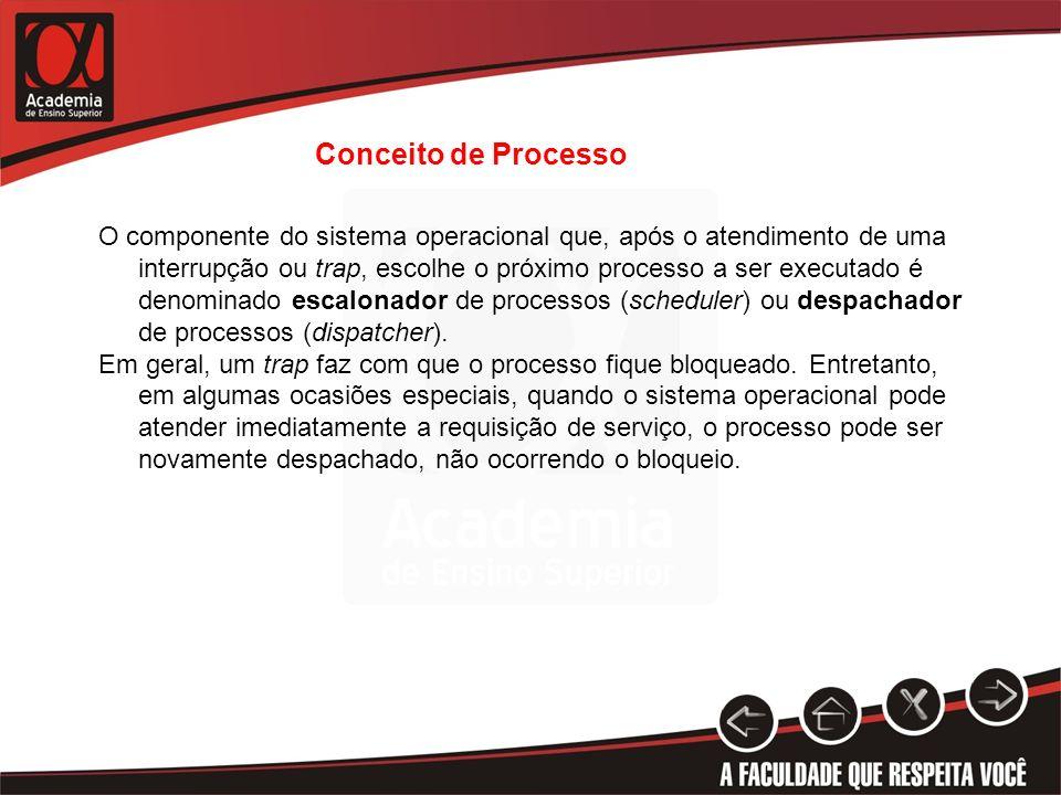 O componente do sistema operacional que, após o atendimento de uma interrupção ou trap, escolhe o próximo processo a ser executado é denominado escalo