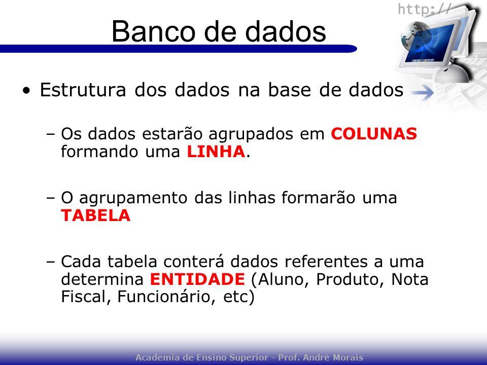 Academia de Ensino Superior - Prof. André Morais Banco de dados Estrutura dos dados na base de dados –Os dados estarão agrupados em COLUNAS formando u