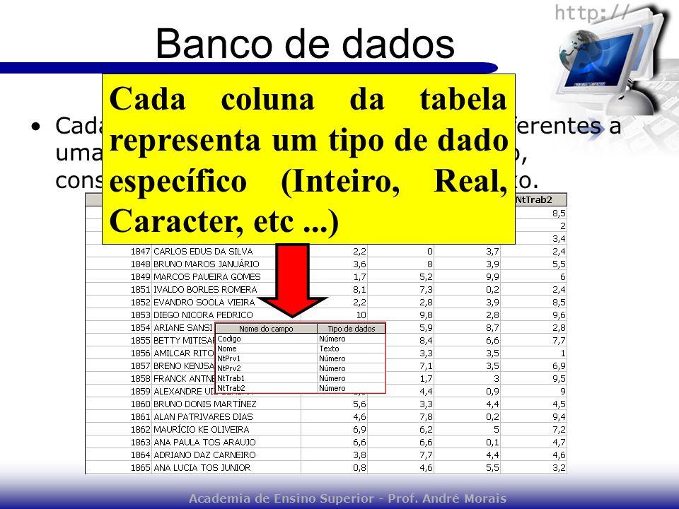 Academia de Ensino Superior - Prof. André Morais Banco de dados Cada coluna da tabela conterá dados referentes a uma determinada entidade. Por exemplo