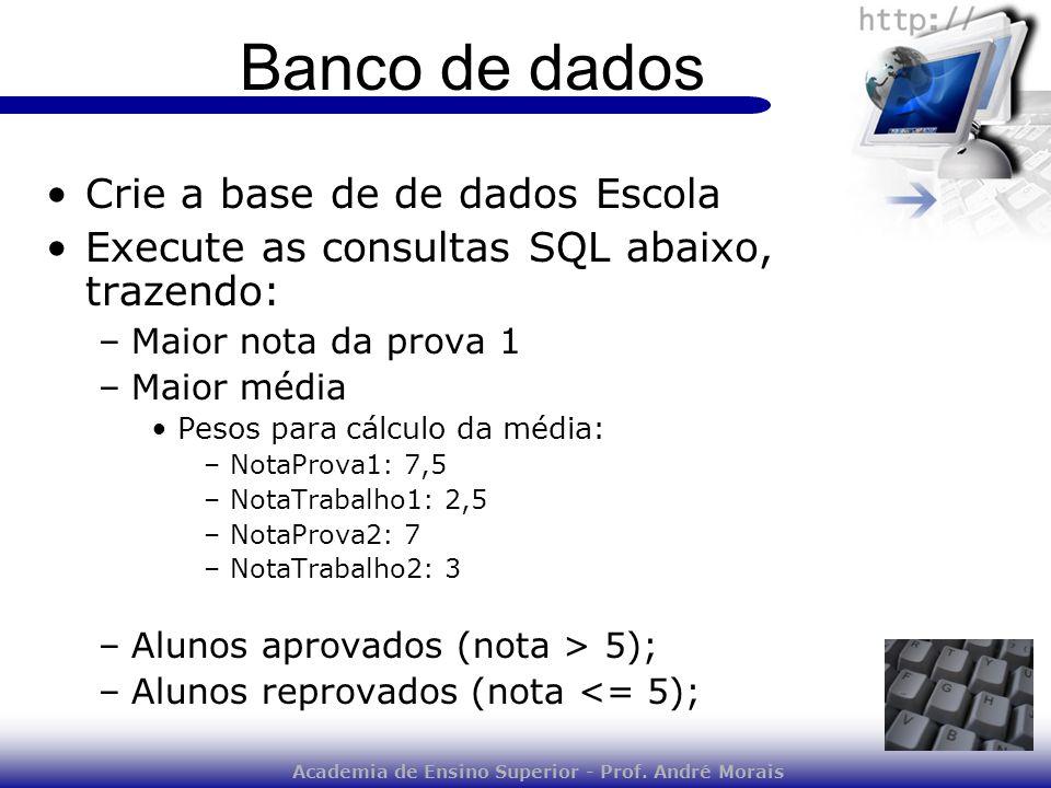 Academia de Ensino Superior - Prof. André Morais Banco de dados Crie a base de de dados Escola Execute as consultas SQL abaixo, trazendo: –Maior nota