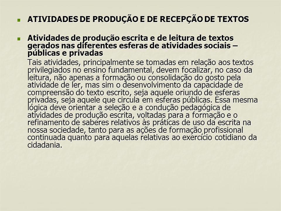 ATIVIDADES DE PRODUÇÃO E DE RECEPÇÃO DE TEXTOS ATIVIDADES DE PRODUÇÃO E DE RECEPÇÃO DE TEXTOS Atividades de produção escrita e de leitura de textos ge