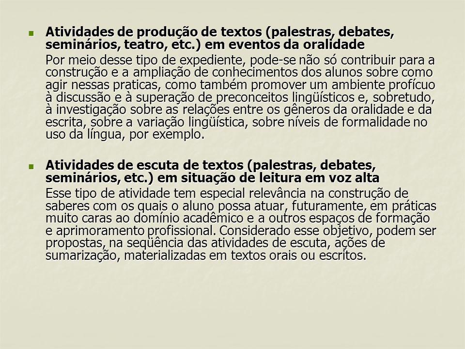 Atividades de produção de textos (palestras, debates, seminários, teatro, etc.) em eventos da oralidade Atividades de produção de textos (palestras, d