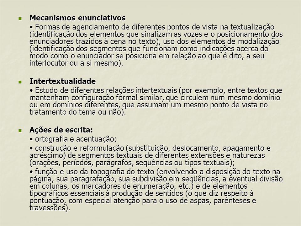 Mecanismos enunciativos Mecanismos enunciativos Formas de agenciamento de diferentes pontos de vista na textualização (identificação dos elementos que