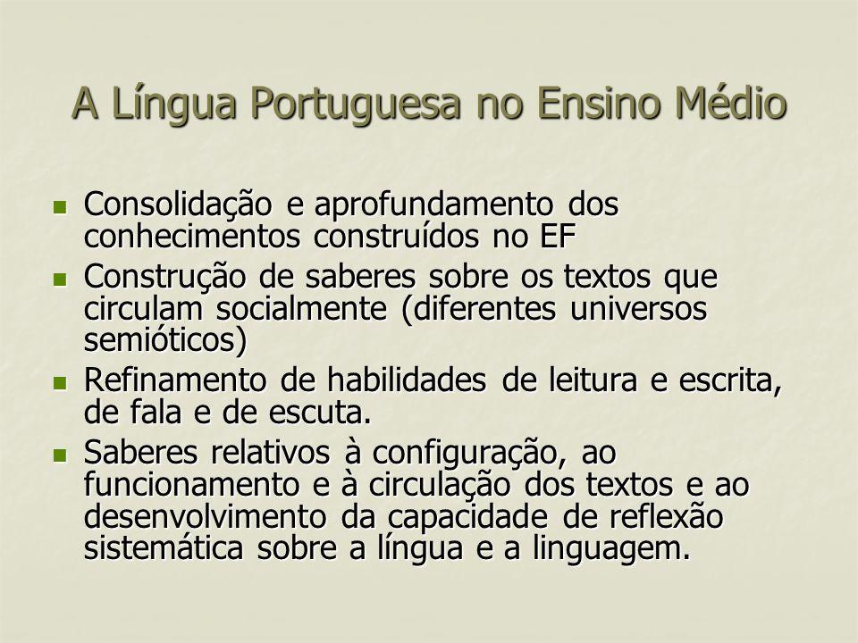 A Língua Portuguesa no Ensino Médio Consolidação e aprofundamento dos conhecimentos construídos no EF Consolidação e aprofundamento dos conhecimentos