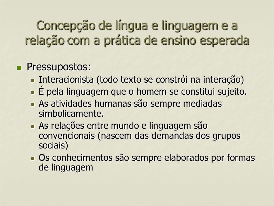 Concepção de língua e linguagem e a relação com a prática de ensino esperada Pressupostos: Pressupostos: Interacionista (todo texto se constrói na int
