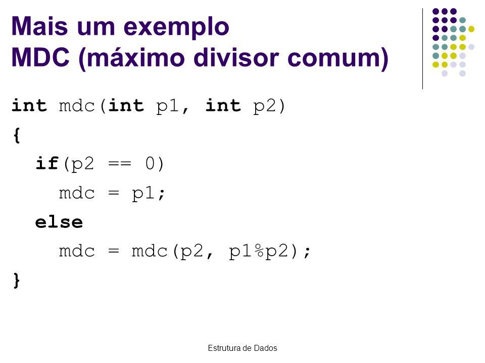 Estrutura de Dados Mais um exemplo MDC (máximo divisor comum) int mdc(int p1, int p2) { if(p2 == 0) mdc = p1; else mdc = mdc(p2, p1%p2); }