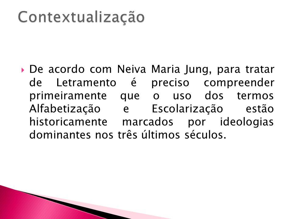 De acordo com Neiva Maria Jung, para tratar de Letramento é preciso compreender primeiramente que o uso dos termos Alfabetização e Escolarização estão