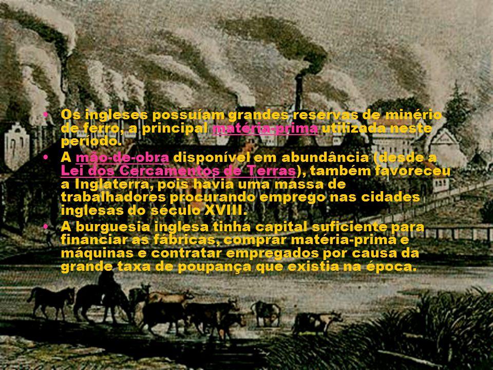 Os ingleses possuíam grandes reservas de minério de ferro, a principal matéria-prima utilizada neste período.matéria-prima A mão-de-obra disponível em