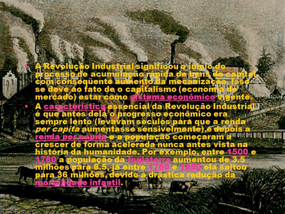 A Revolução Industrial significou o início do processo de acumulação rápida de bens de capital, com conseqüente aumento da mecanização. Isso se deve a