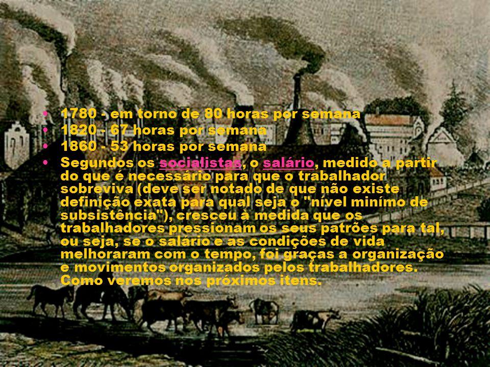 1780 - em torno de 80 horas por semana 1820 - 67 horas por semana 1860 - 53 horas por semana Segundos os socialistas, o salário, medido a partir do qu