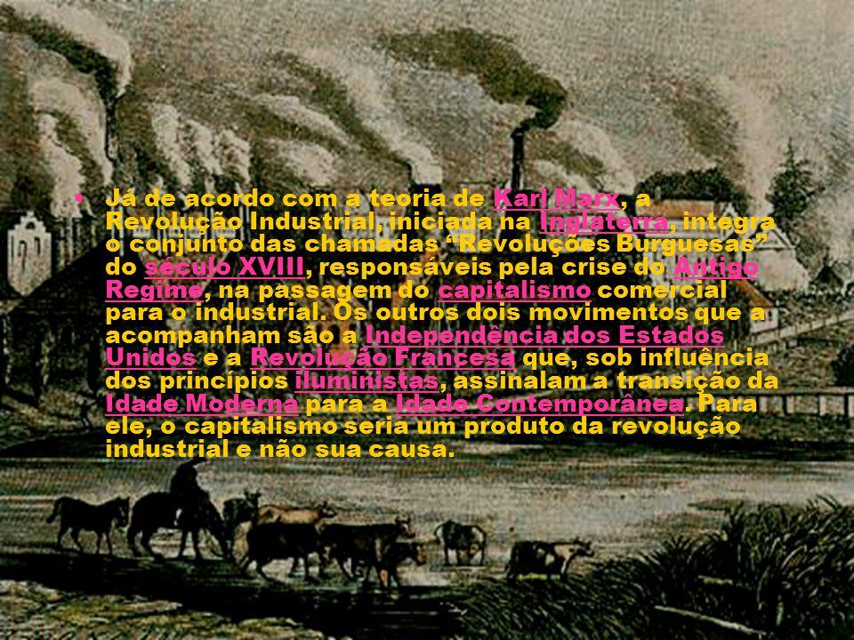 Já de acordo com a teoria de Karl Marx, a Revolução Industrial, iniciada na Inglaterra, integra o conjunto das chamadas Revoluções Burguesas do século