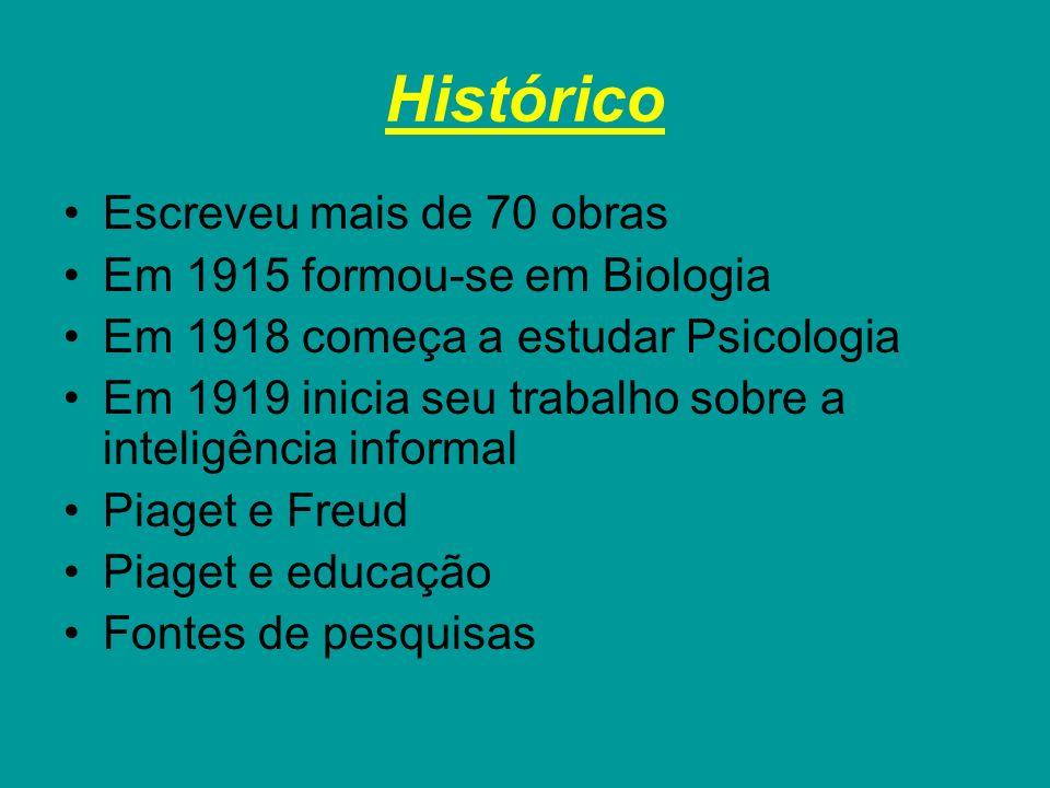 Histórico Escreveu mais de 70 obras Em 1915 formou-se em Biologia Em 1918 começa a estudar Psicologia Em 1919 inicia seu trabalho sobre a inteligência