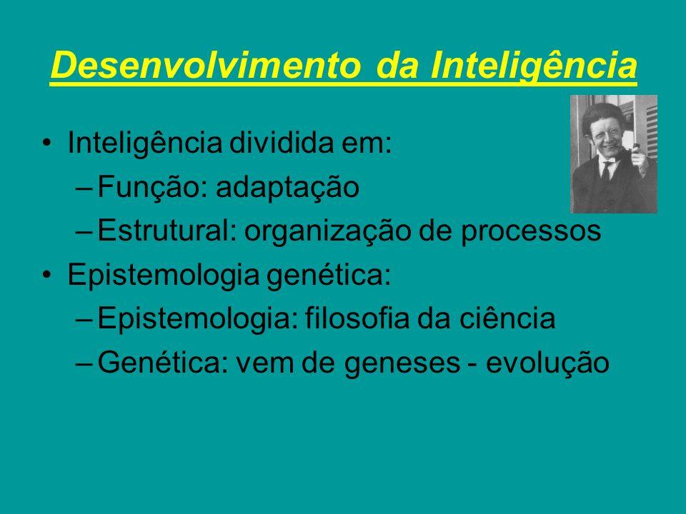 Desenvolvimento da Inteligência Inteligência dividida em: –Função: adaptação –Estrutural: organização de processos Epistemologia genética: –Epistemolo