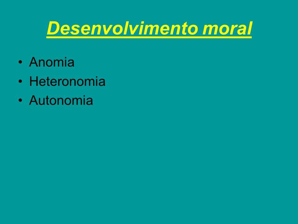 Desenvolvimento moral Anomia Heteronomia Autonomia
