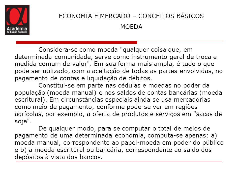 ECONOMIA E MERCADO – CONCEITOS BÁSICOS MOEDA Considera-se como moeda