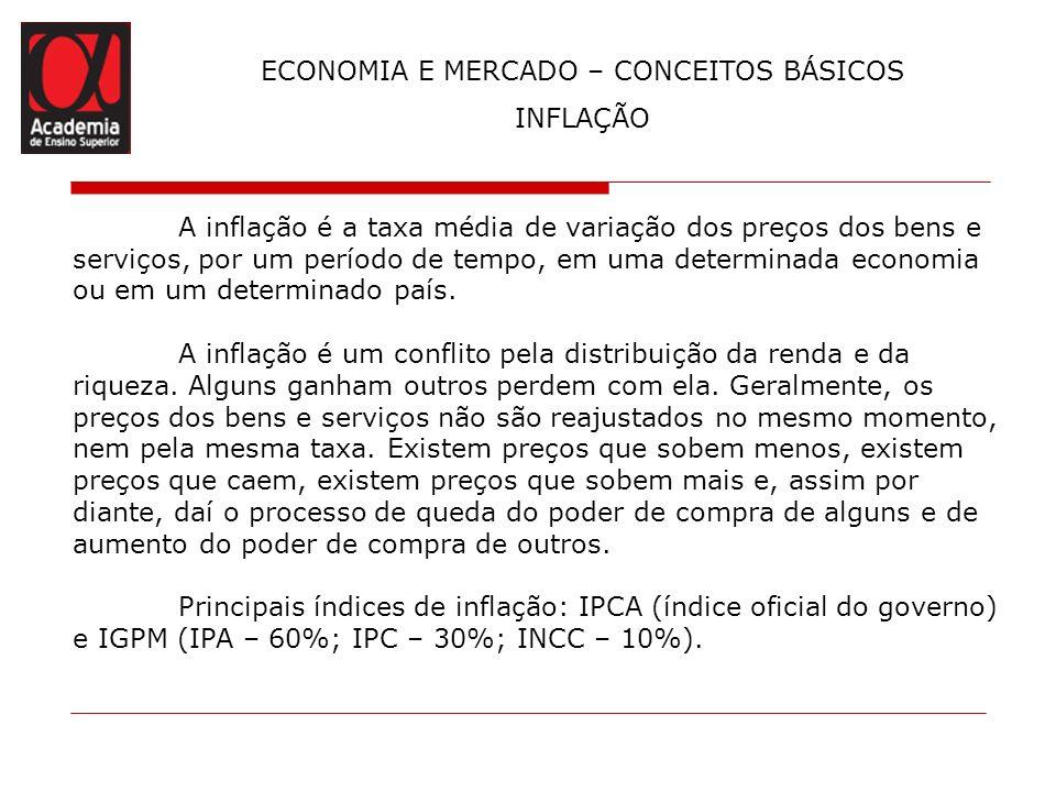ECONOMIA E MERCADO – CONCEITOS BÁSICOS INFLAÇÃO A inflação é a taxa média de variação dos preços dos bens e serviços, por um período de tempo, em uma