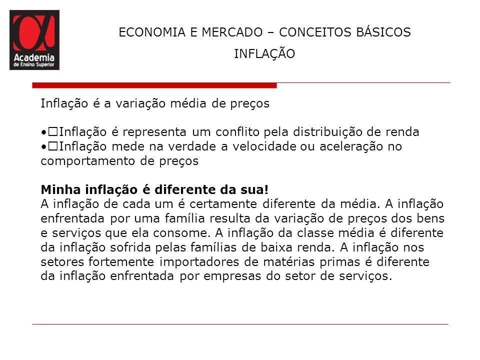 Inflação é a variação média de preços Inflação é representa um conflito pela distribuição de renda Inflação mede na verdade a velocidade ou aceleração