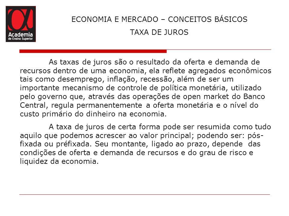 ECONOMIA E MERCADO – CONCEITOS BÁSICOS TAXA DE JUROS As taxas de juros são o resultado da oferta e demanda de recursos dentro de uma economia, ela ref
