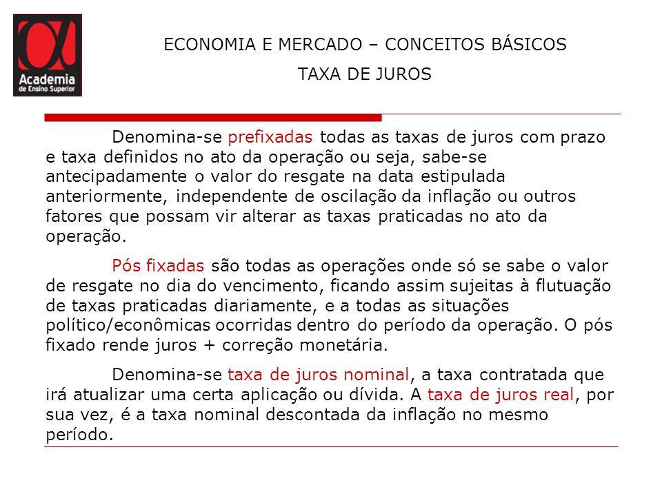 ECONOMIA E MERCADO – CONCEITOS BÁSICOS TAXA DE JUROS Denomina-se prefixadas todas as taxas de juros com prazo e taxa definidos no ato da operação ou s
