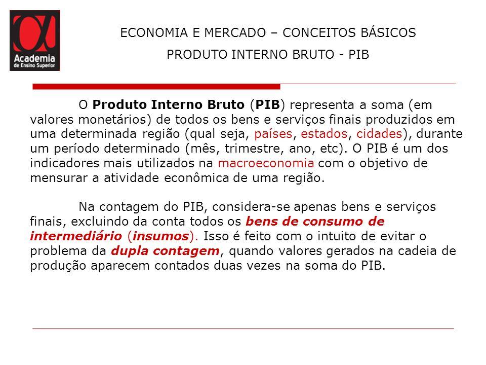 ECONOMIA E MERCADO – CONCEITOS BÁSICOS PRODUTO INTERNO BRUTO - PIB O Produto Interno Bruto (PIB) representa a soma (em valores monetários) de todos os
