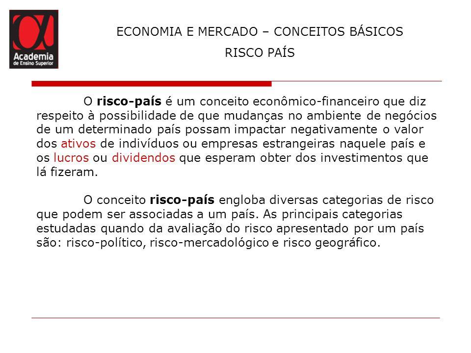 ECONOMIA E MERCADO – CONCEITOS BÁSICOS RISCO PAÍS O risco-país é um conceito econômico-financeiro que diz respeito à possibilidade de que mudanças no