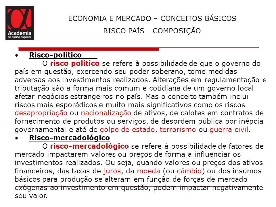 ECONOMIA E MERCADO – CONCEITOS BÁSICOS RISCO PAÍS - COMPOSIÇÃO Risco-político O risco político se refere à possibilidade de que o governo do país em q