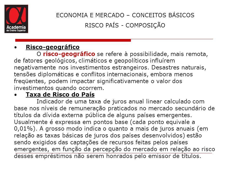 ECONOMIA E MERCADO – CONCEITOS BÁSICOS RISCO PAÍS - COMPOSIÇÃO Risco-geográfico O risco-geográfico se refere à possibilidade, mais remota, de fatores