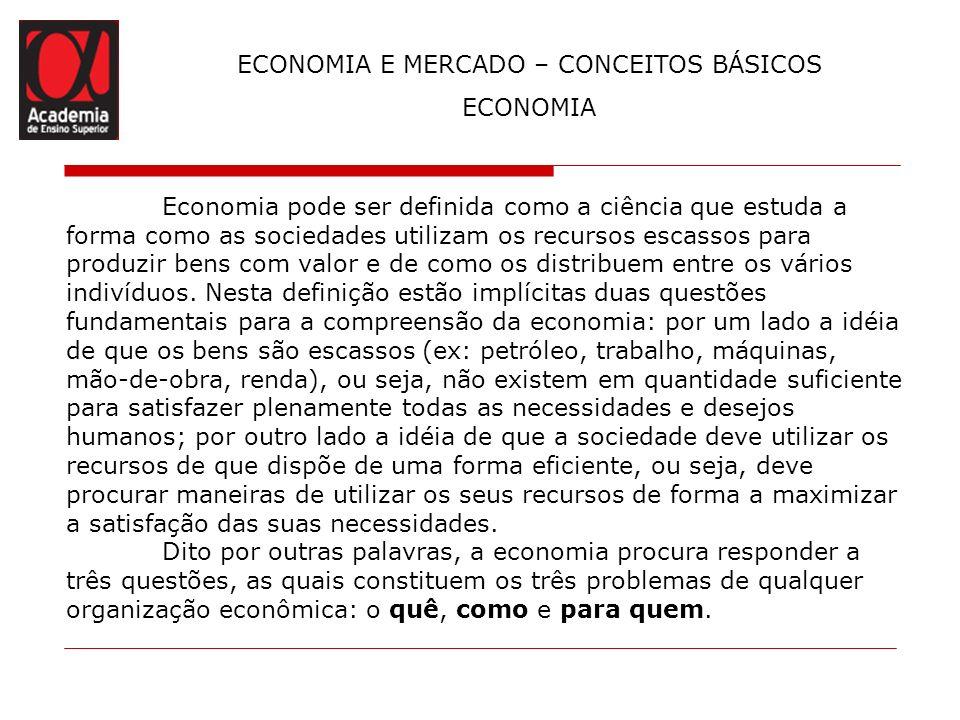 ECONOMIA E MERCADO – CONCEITOS BÁSICOS ECONOMIA Economia pode ser definida como a ciência que estuda a forma como as sociedades utilizam os recursos e