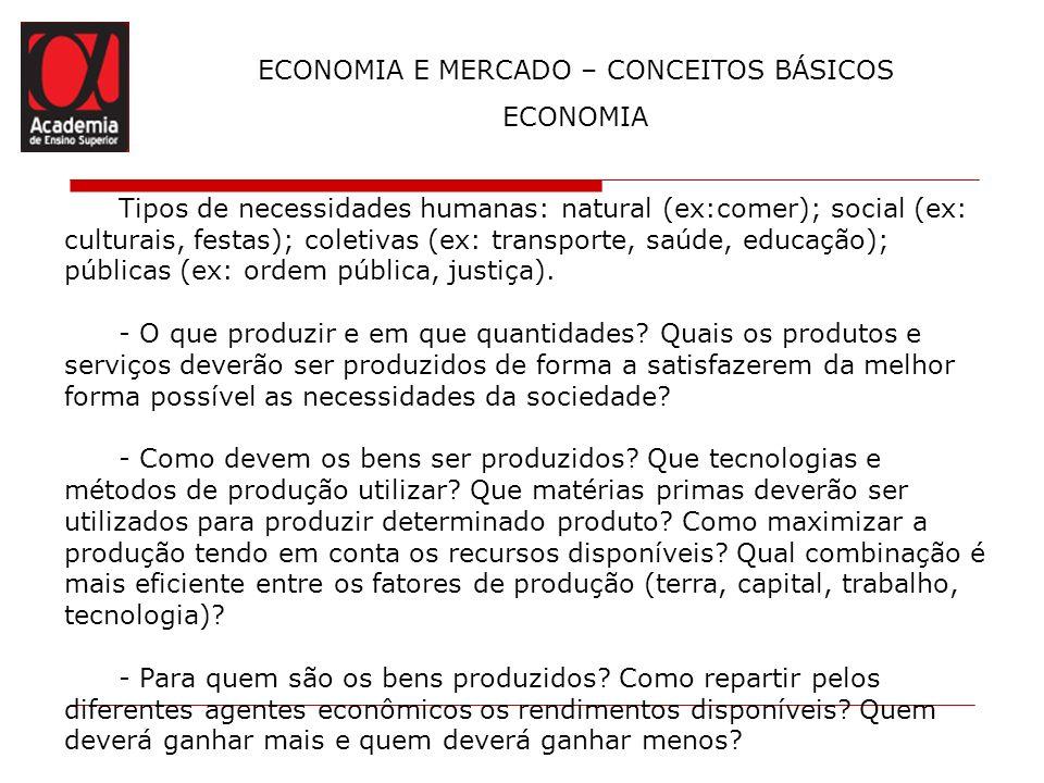 ECONOMIA E MERCADO – CONCEITOS BÁSICOS ECONOMIA Tipos de necessidades humanas: natural (ex:comer); social (ex: culturais, festas); coletivas (ex: tran