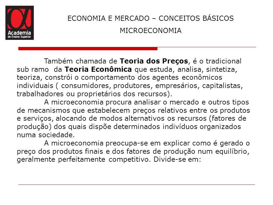 ECONOMIA E MERCADO – CONCEITOS BÁSICOS MICROECONOMIA Teoria do Consumidor: Estuda as preferências do consumidor analisando o seu comportamento, as suas escolhas, as restrições quanto a valores e a demanda de mercado.