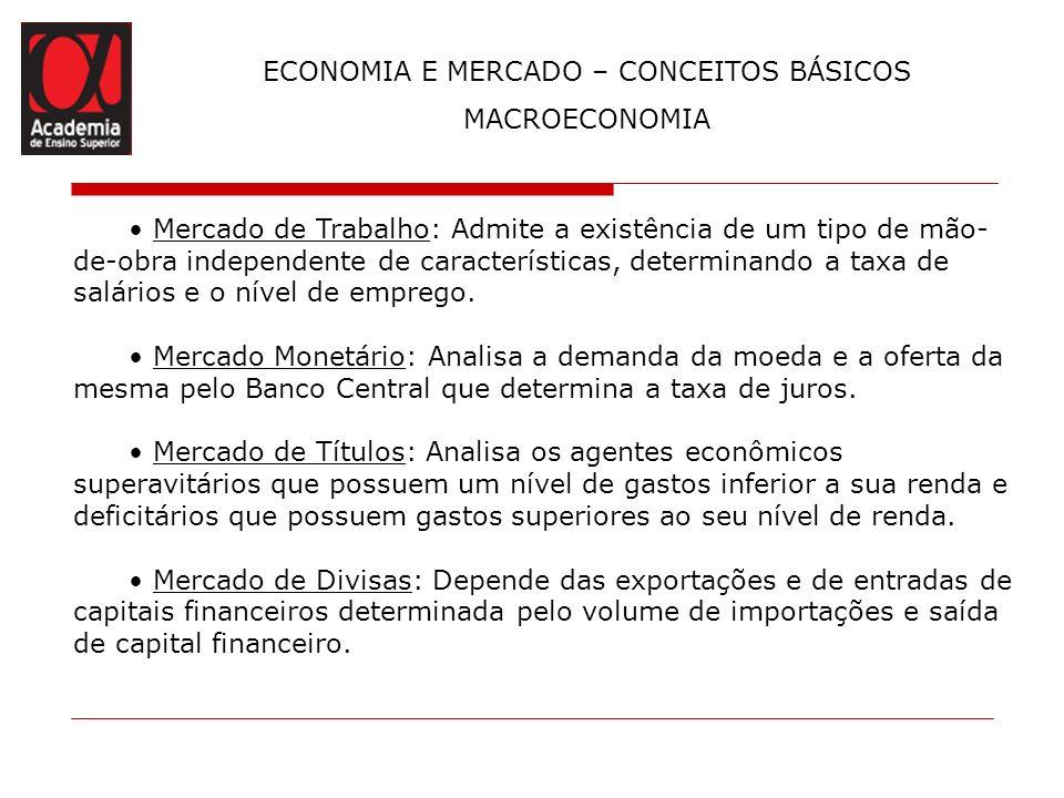 ECONOMIA E MERCADO – CONCEITOS BÁSICOS MACROECONOMIA Mercado de Trabalho: Admite a existência de um tipo de mão- de-obra independente de característic