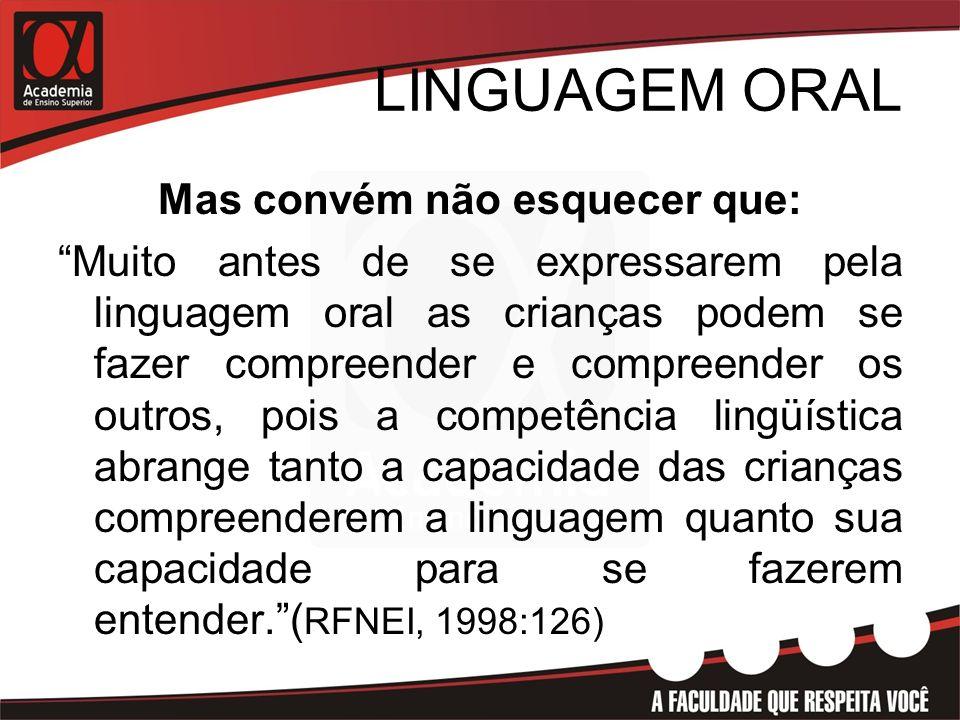 LINGUAGEM ORAL Mas convém não esquecer que: Muito antes de se expressarem pela linguagem oral as crianças podem se fazer compreender e compreender os