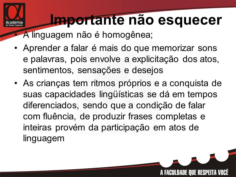 Importante não esquecer A linguagem não é homogênea; Aprender a falar é mais do que memorizar sons e palavras, pois envolve a explicitação dos atos, s