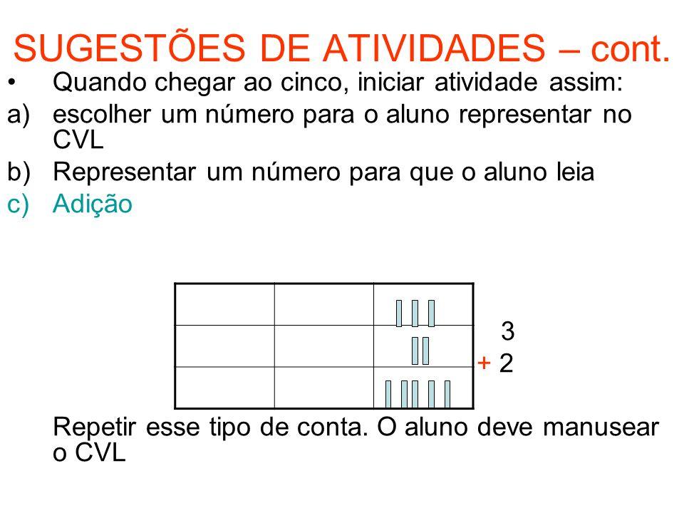 SUGESTÕES DE ATIVIDADES – cont. Quando chegar ao cinco, iniciar atividade assim: a)escolher um número para o aluno representar no CVL b)Representar um