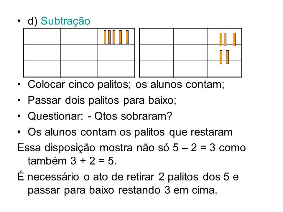 d) Subtração Colocar cinco palitos; os alunos contam; Passar dois palitos para baixo; Questionar: - Qtos sobraram? Os alunos contam os palitos que res