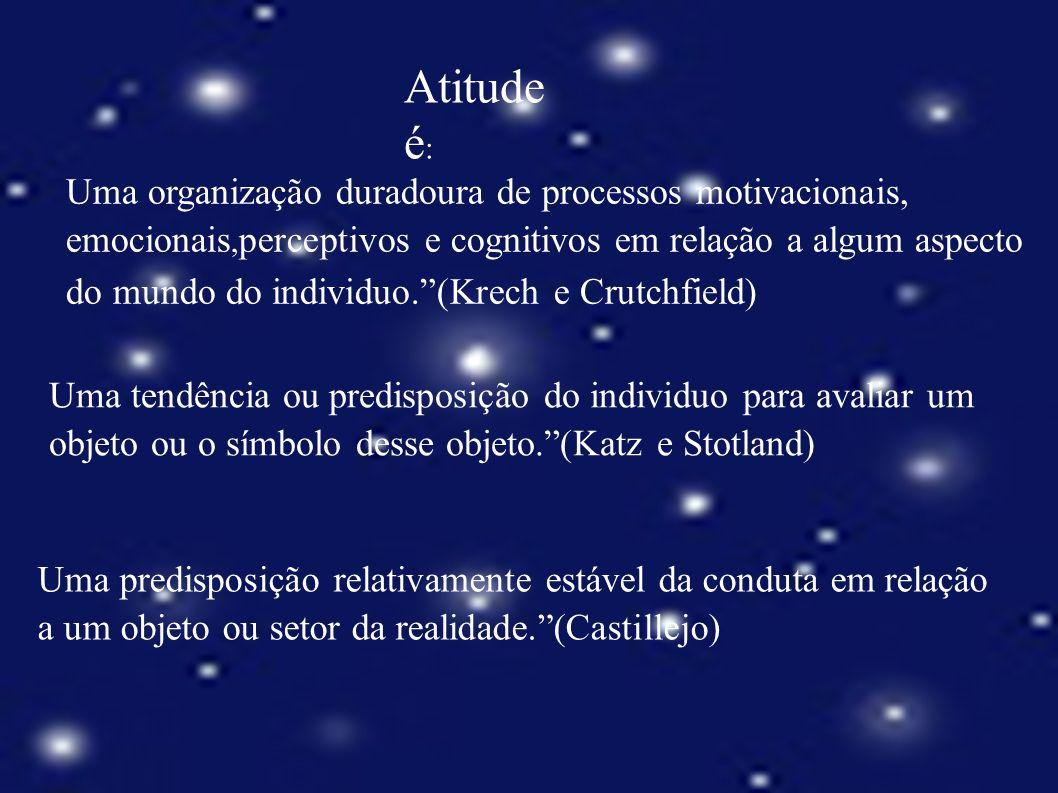 Atitude é : Uma organização duradoura de processos motivacionais, emocionais, perceptivos e cognitivos em relação a algum aspecto do mundo do individu