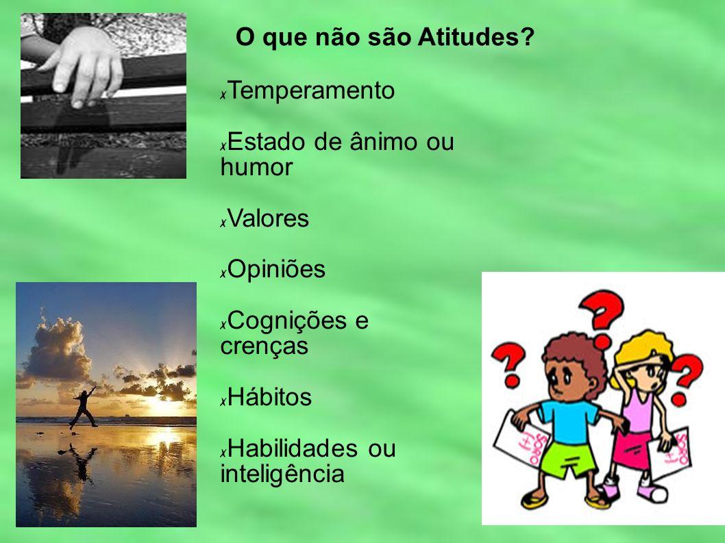 O que não são Atitudes? Temperamento Estado de ânimo ou humor Valores Opiniões Cognições e crenças Hábitos Habilidades ou inteligência