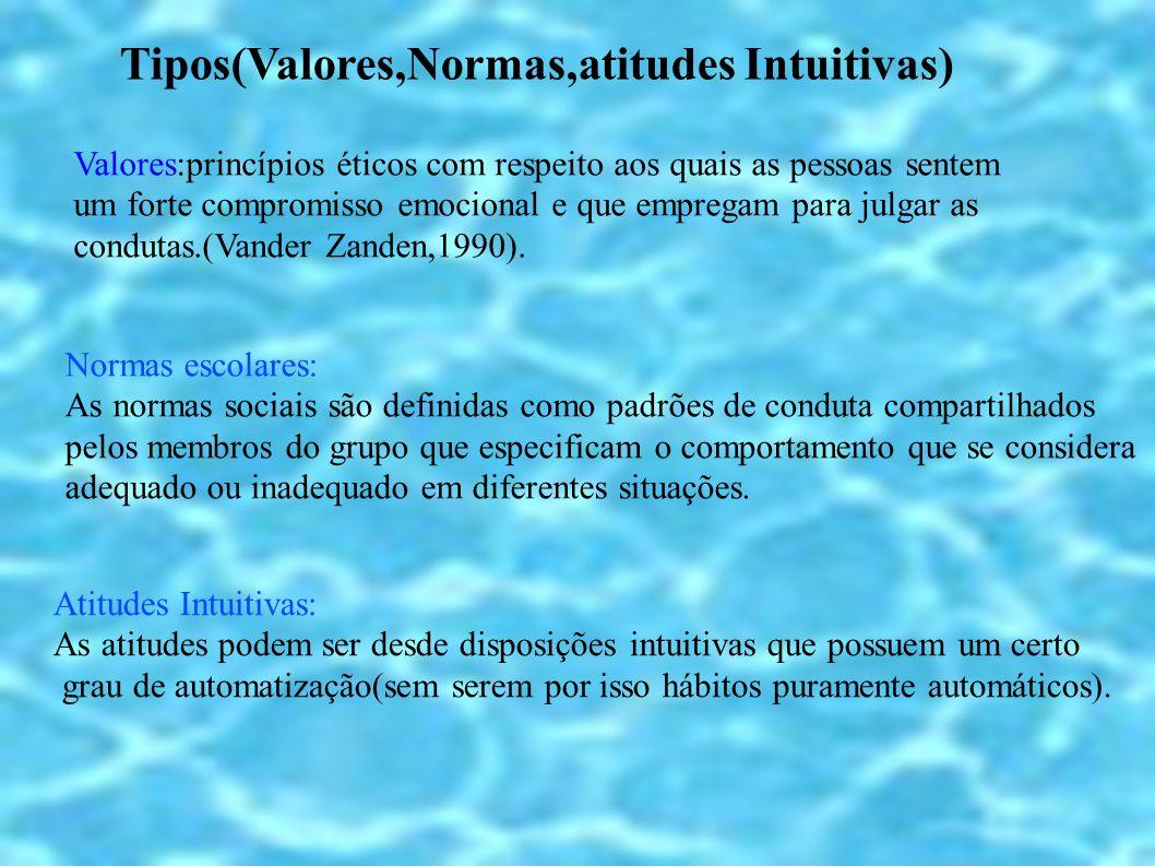 Tipos(Valores,Normas,atitudes Intuitivas) Valores:princípios éticos com respeito aos quais as pessoas sentem um forte compromisso emocional e que empr