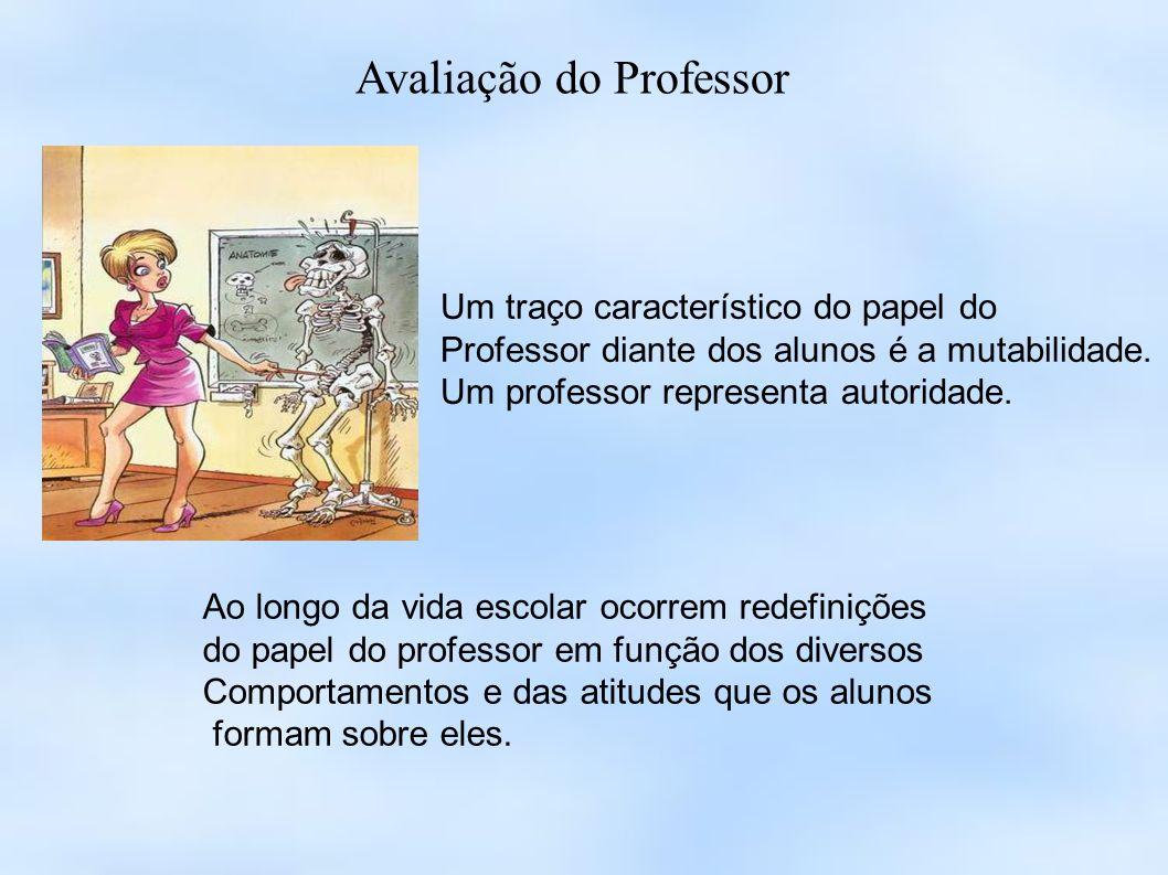 Avaliação do Professor Um traço característico do papel do Professor diante dos alunos é a mutabilidade. Um professor representa autoridade. Ao longo
