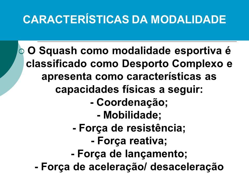 O Squash como modalidade esportiva é classificado como Desporto Complexo e apresenta como características as capacidades físicas a seguir: - Coordenaç