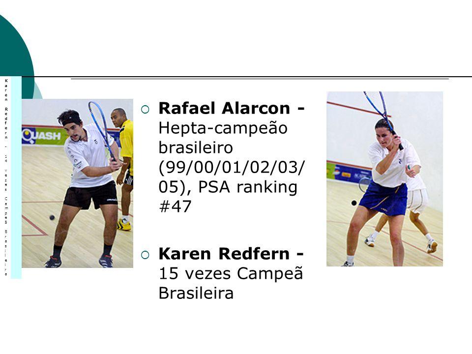 Rafael Alarcon - Hepta-campeão brasileiro (99/00/01/02/03/ 05), PSA ranking #47 Karen Redfern - 15 vezes Campeã Brasileira Karen Redfern - 14 vezes Ca