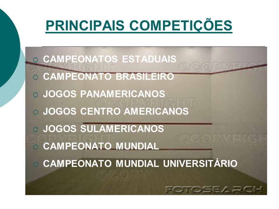 PRINCIPAIS COMPETIÇÕES CAMPEONATOS ESTADUAIS CAMPEONATO BRASILEIRO JOGOS PANAMERICANOS JOGOS CENTRO AMERICANOS JOGOS SULAMERICANOS CAMPEONATO MUNDIAL