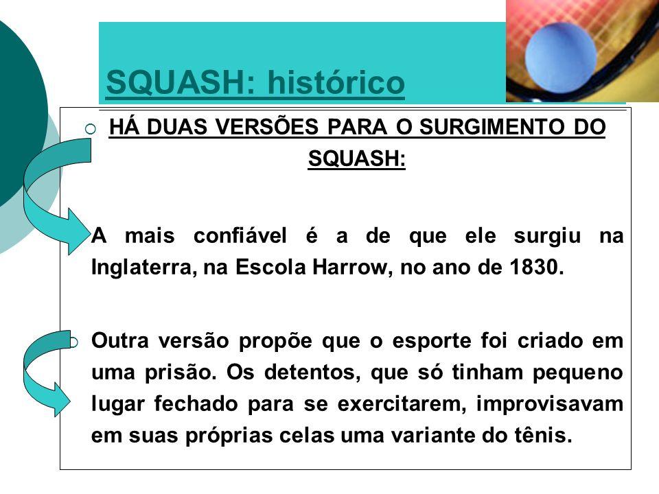 O squash desembarcou no Brasil em 1920, junto com os ingleses que procuravam ouro em Nova Lima, Minas Gerais.Brasil1920ouroNova LimaMinas Gerais No final da década de 1970 e início de 80, ocorreu o o boom do Squash com a construção de quadras em clubes e academias – SP e RJ.