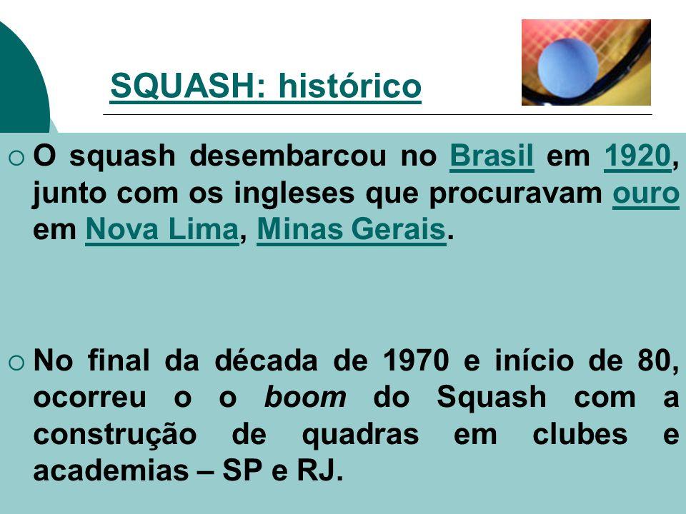 O squash desembarcou no Brasil em 1920, junto com os ingleses que procuravam ouro em Nova Lima, Minas Gerais.Brasil1920ouroNova LimaMinas Gerais No fi