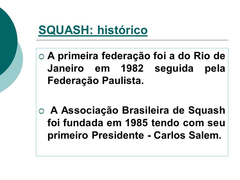 A primeira federação foi a do Rio de Janeiro em 1982 seguida pela Federação Paulista. A Associação Brasileira de Squash foi fundada em 1985 tendo com